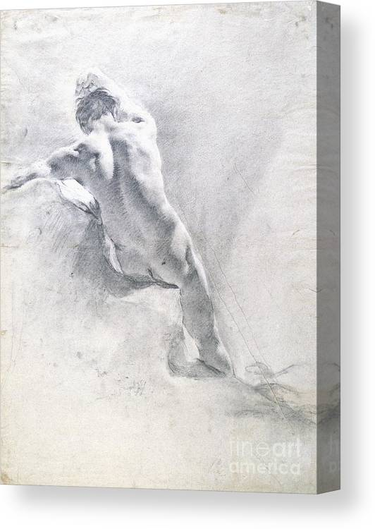 Study Canvas Print featuring the drawing Study Of A Male Nude by Giambattista Piazzetta