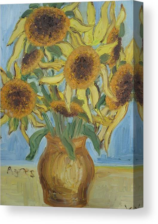 Flowers Canvas Print featuring the painting Sunflowers II. by Agnes V