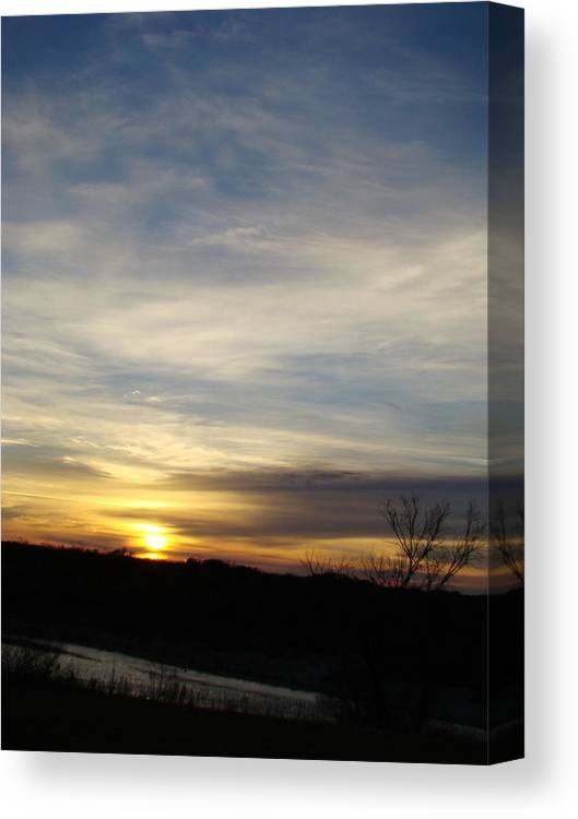Landscape Canvas Print featuring the photograph Sunrise River Four by Ana Villaronga