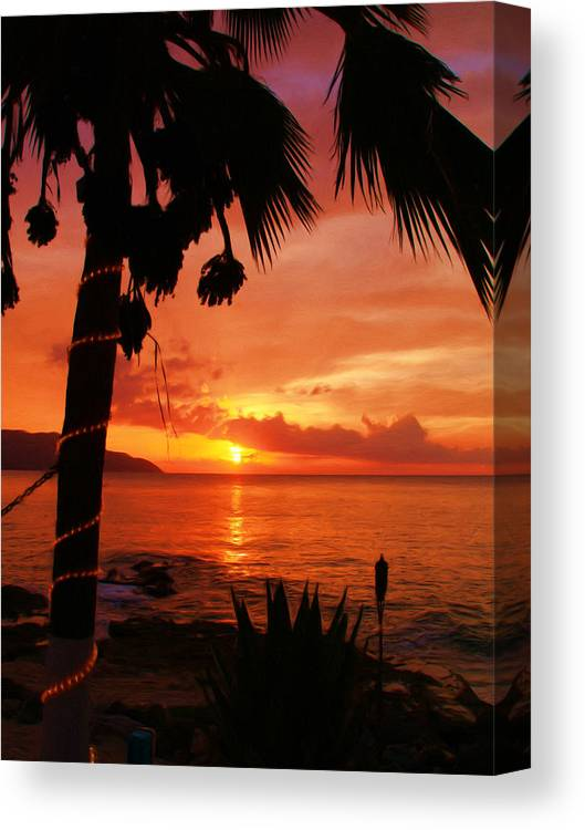 Sunset Canvas Print featuring the painting Sunset At Off The Wall by Linda Morland