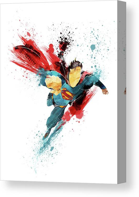 Superman Canvas Print featuring the painting Superman Abstract by Unique Drawing