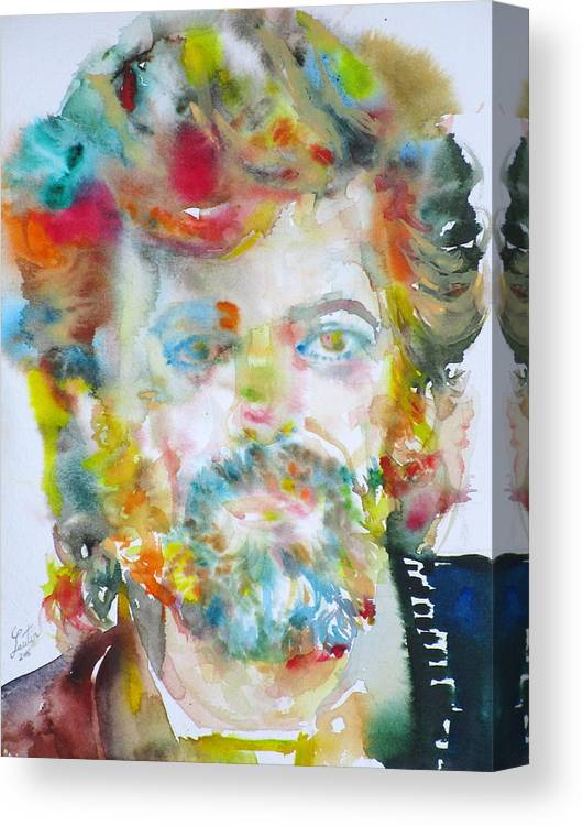 Terence Mckenna Art >> Terence Mckenna Watercolor Portrait 6 Canvas Print