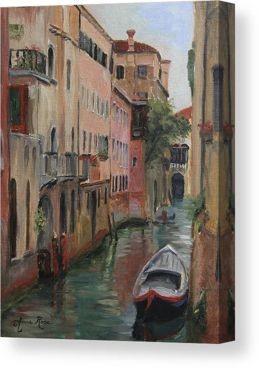 Landscape Canvas Print featuring the painting The Canal Less Travelled by Anna Rose Bain