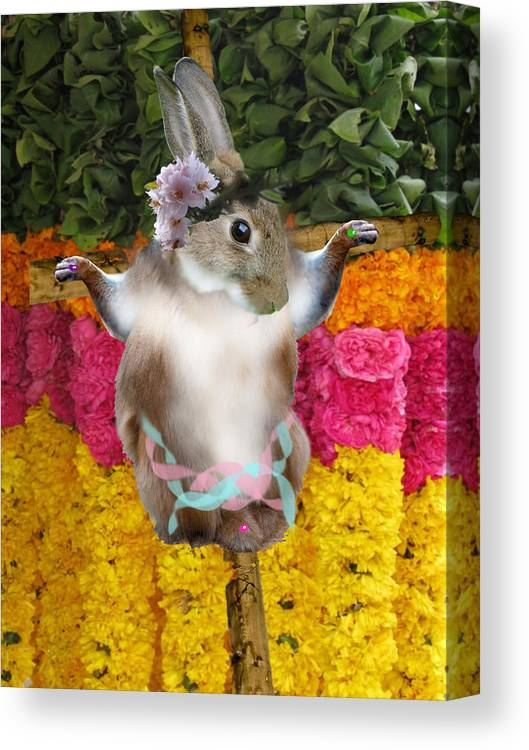 Easter Canvas Print featuring the digital art The Easter Bunny Didn't Die For Your Sins by Crescentia Mello