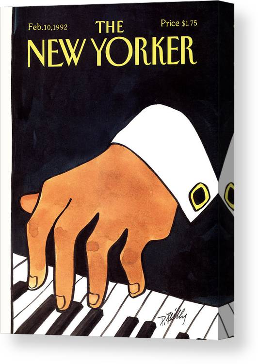 Entertainment Canvas Print featuring the painting The New Yorker Cover - February 10th, 1992 by Donald Reilly