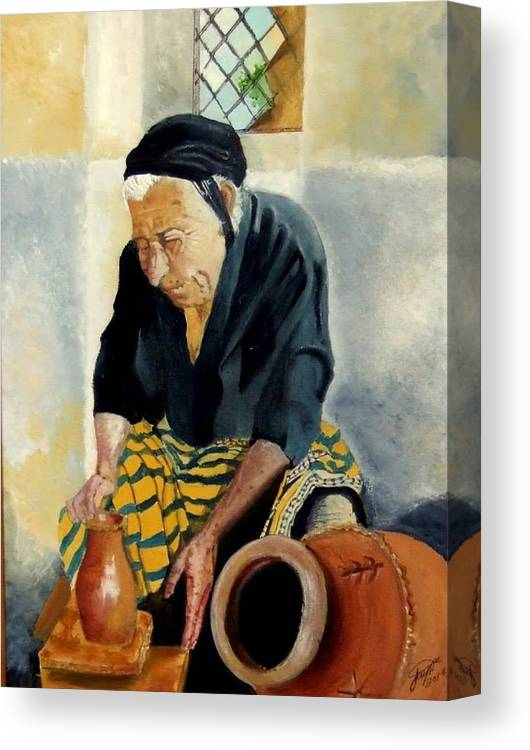 Old People Canvas Print featuring the painting The Old Potter by Jane Simpson