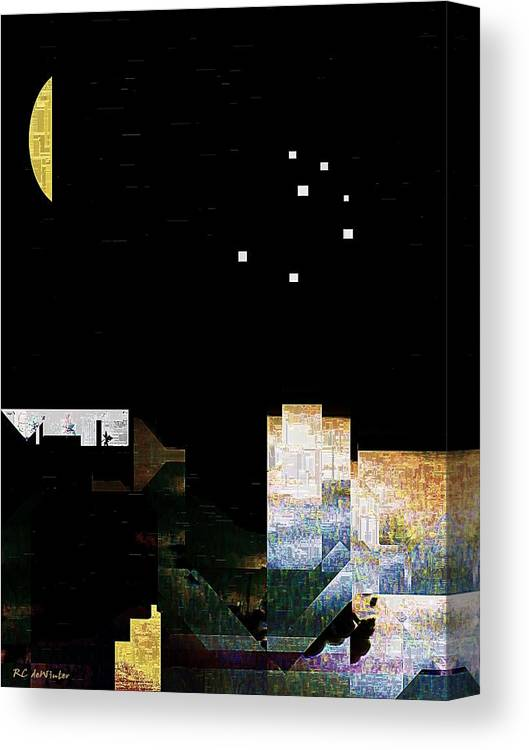City Canvas Print featuring the painting The Seven Sisters by RC DeWinter