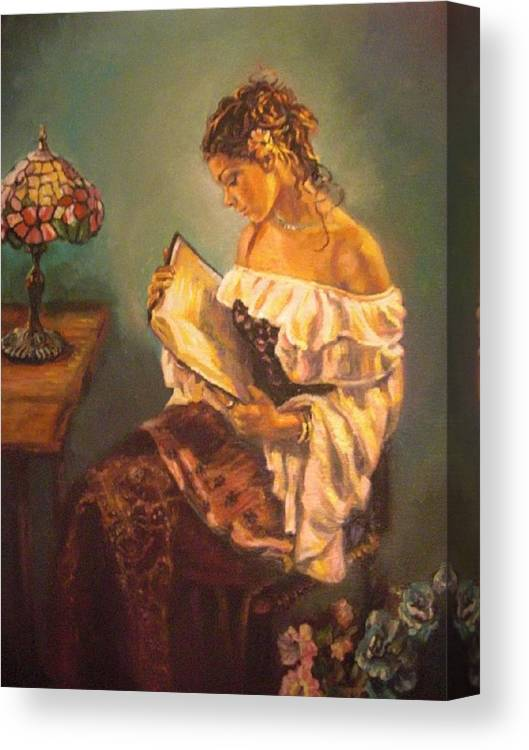 Woman Canvas Print featuring the painting The Way To Happiness by Deborah Macy