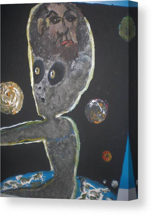 Alien. Bigfoot Canvas Print featuring the painting Their Here by Mary Shahbazi