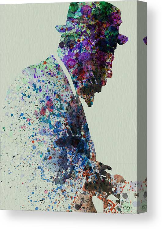 Canvas Print featuring the painting Thelonious Monk Watercolor 1 by Naxart Studio