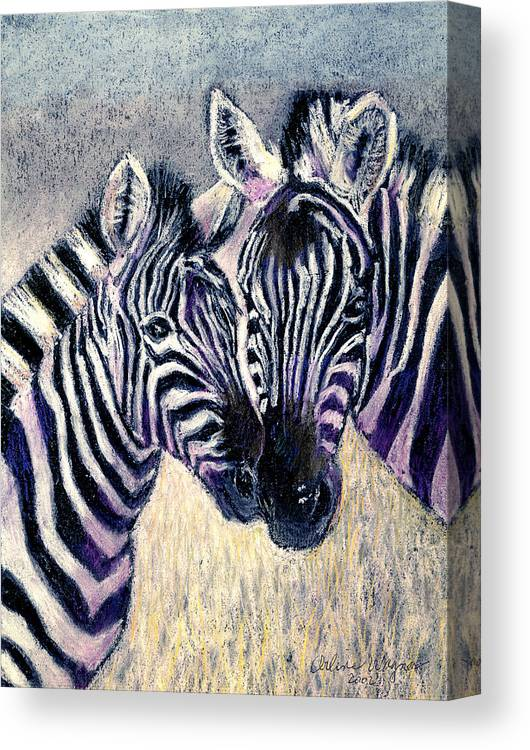 Zebras Canvas Print featuring the pastel Together by Arline Wagner