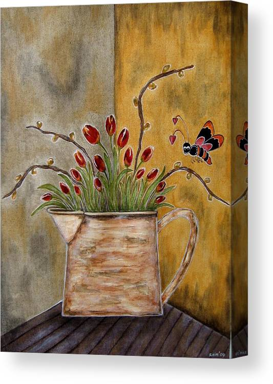Folk Art Paintings Canvas Print featuring the painting Tulips And The Lovely Bee by Rain Ririn