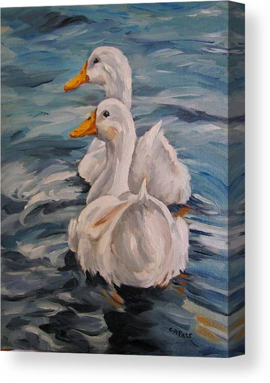 White Ducks Canvas Print featuring the painting Two By Two by Cheryl Pass