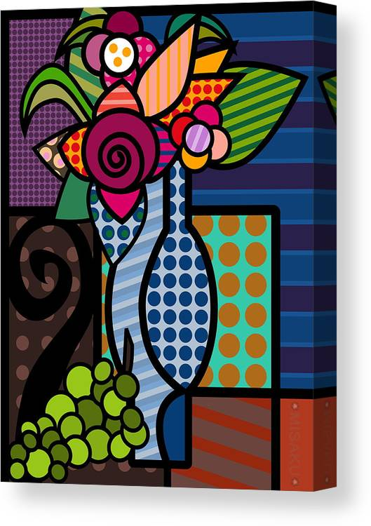 Misaku Canvas Print featuring the digital art Vase Of Flowers by Mi Saku