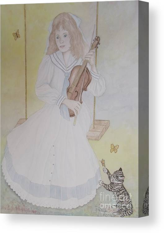 Girl Canvas Print featuring the painting Victoria's Violin by Patti Lennox