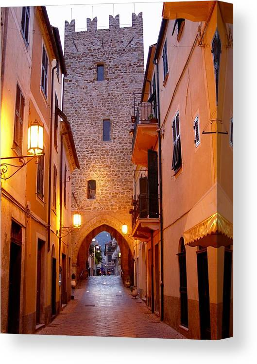 Cobblestone Walk Canvas Print featuring the photograph Visions Of Italy Archway by Nancy Bradley