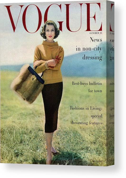 Fashion Canvas Print featuring the photograph Vogue Magazine Cover Featuring Model Va Taylor by Karen Radkai