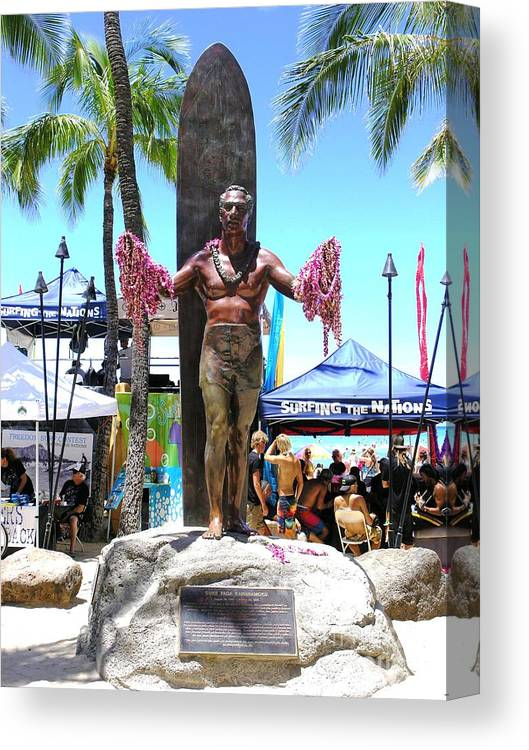 Statues Canvas Print featuring the photograph Waikiki Statue - Duke Kahanamoku by Mary Deal