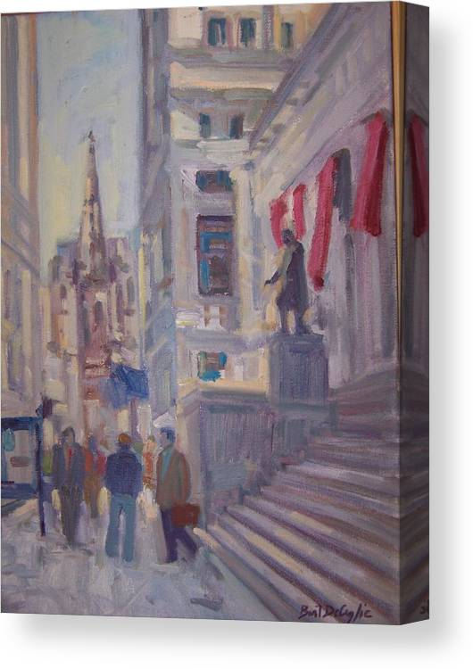 Street Scene Of Wall St.trinity Church Canvas Print featuring the painting Wall St. by Bart DeCeglie