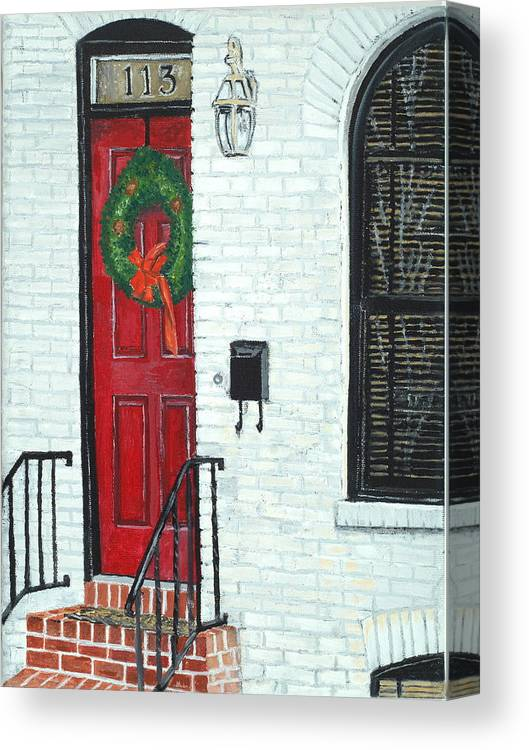 Baltimore Canvas Print featuring the painting West Street Christmas by John Schuller