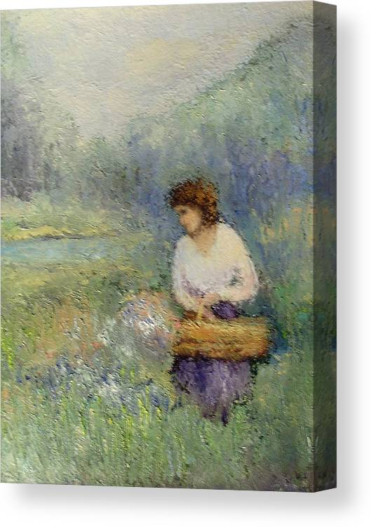 Woman Canvas Print featuring the painting Wildflowers by Gail Kirtz