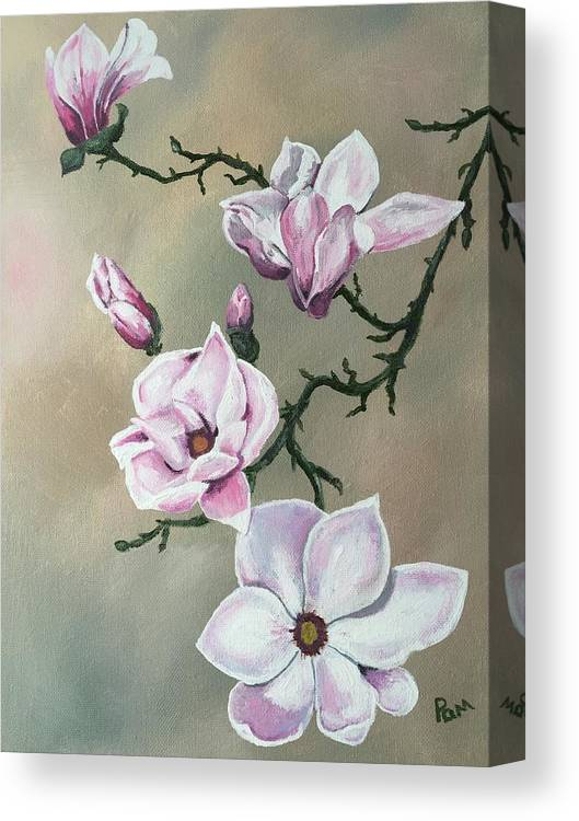 Floral Canvas Print featuring the painting Winter Magnolia Blooms by Pamela Long