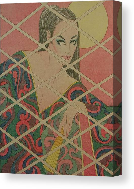 Female Canvas Print featuring the painting Woman And The Moon by Gary Kaemmer