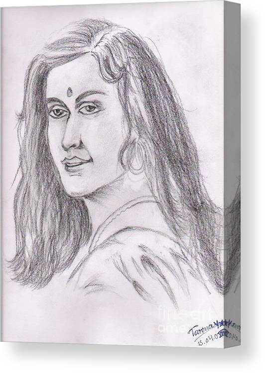 Indian Woman Drawing Canvas Print featuring the painting Woman Of India by Tanmay Singh