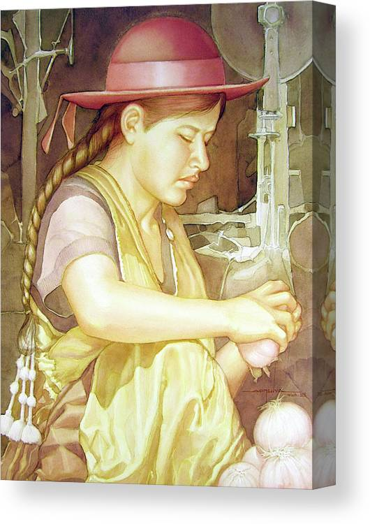 Watercolor Canvas Print featuring the painting Ws1995dc004 Ivon 15x20 by Alfredo Da Silva