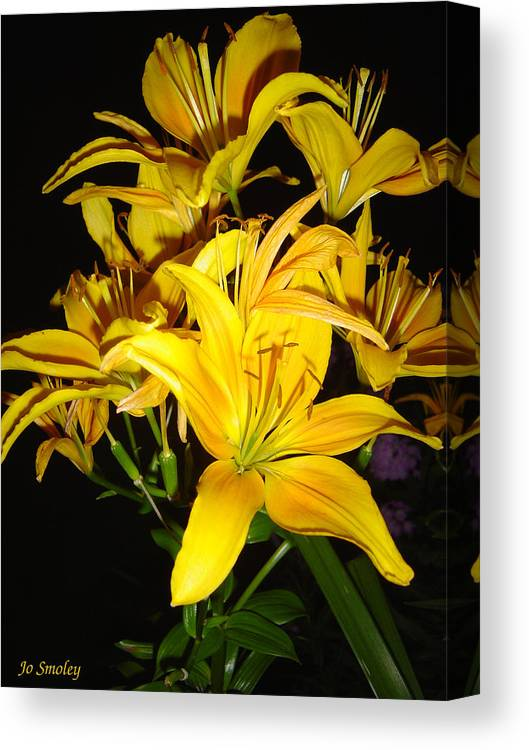 Yellow Lilies Bouquet Canvas Print featuring the photograph Yellow Lilies by Joanne Smoley