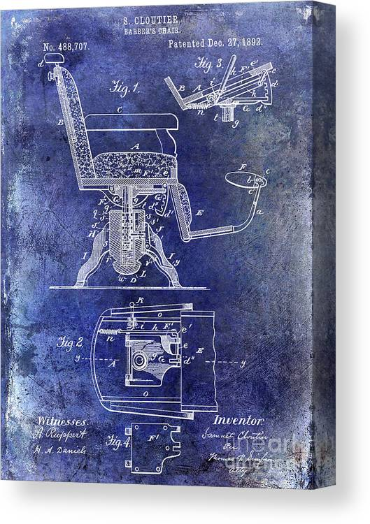 Barber Chair Patent Drawing Blueprint Canvas Print featuring the photograph 1892 Barbers Chair Patent Blue by Jon Neidert