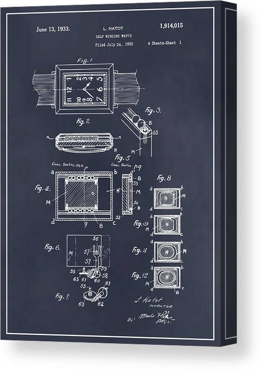 Art & Collectibles Canvas Print featuring the drawing 1930 Leon Hatot Self Winding Watch Patent Print Blackboard by Greg Edwards