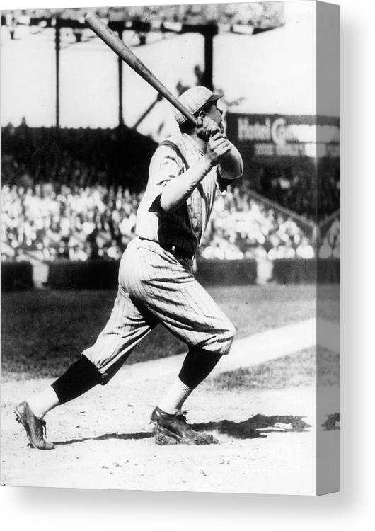 American League Baseball Canvas Print featuring the photograph Babe Ruth 1921 by Transcendental Graphics