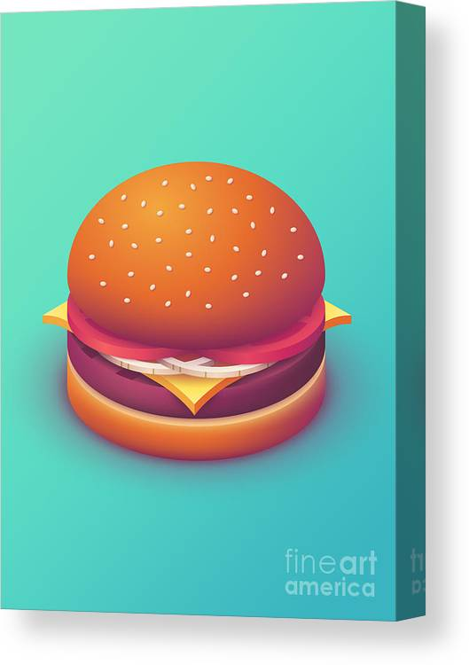 Burger Canvas Print featuring the digital art Burger Isometric - Plain Mint by Ivan Krpan