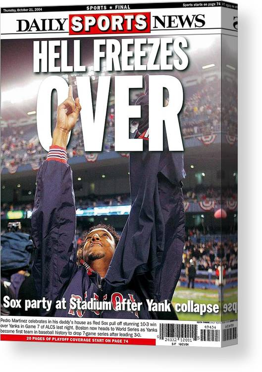 Vertical Canvas Print featuring the photograph Daily News Backpage Dated Oct. 21 by New York Daily News Archive