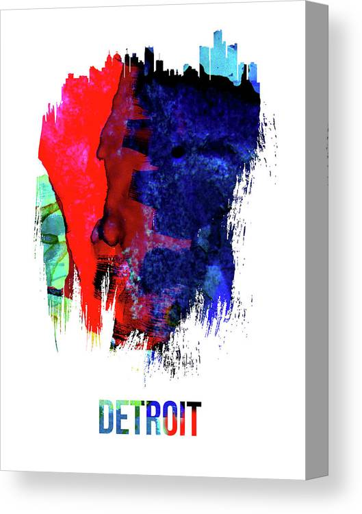 Detroit Canvas Print featuring the mixed media Detroit Skyline Brush Stroke Watercolor  by Naxart Studio