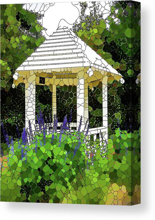 Gazebo Canvas Print featuring the painting Gazebo In A Beautiful Public Garden Park 3 by Jeelan Clark
