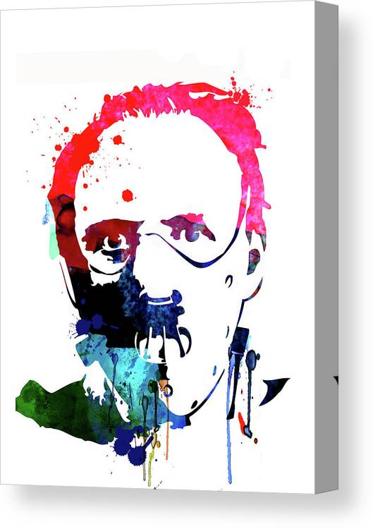 Silence Of The Lambs Canvas Print featuring the mixed media Hannibal Lecter Watercolor by Naxart Studio
