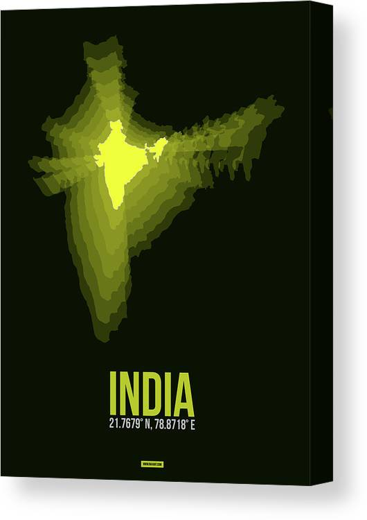 Map Of India Canvas Print featuring the digital art India Radiant Map 2 by Naxart Studio