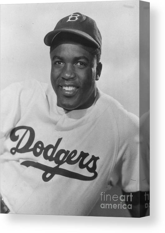 People Canvas Print featuring the photograph Jackie Robinson Happy Portrait 1949 by Transcendental Graphics
