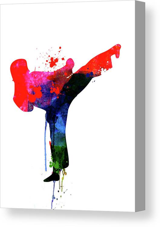 Movies Canvas Print featuring the mixed media Karate Kid Watercolor by Naxart Studio