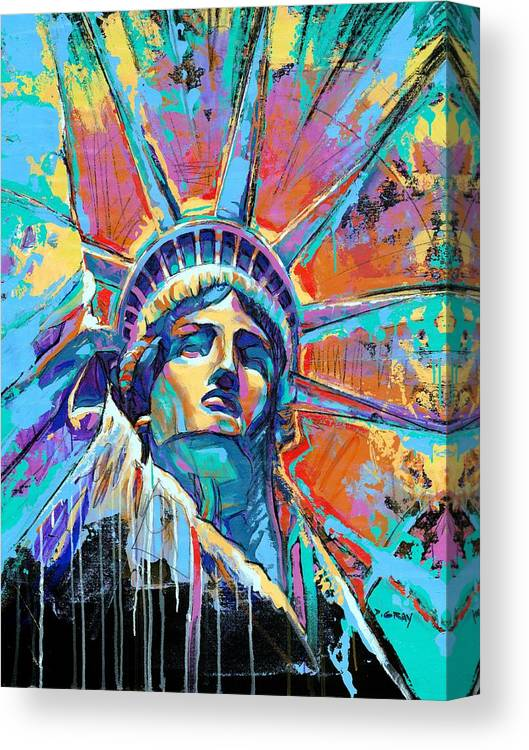 New Canvas Print featuring the painting Liberty In Color by Damon Gray