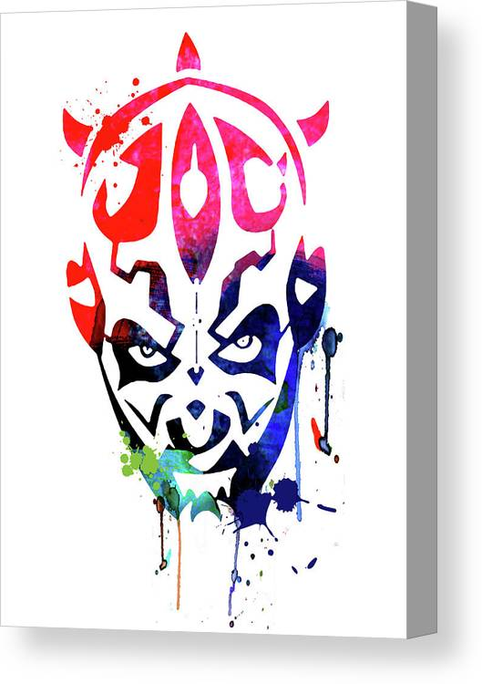 Maul Canvas Print featuring the mixed media Maul Cartoon Watercolor by Naxart Studio