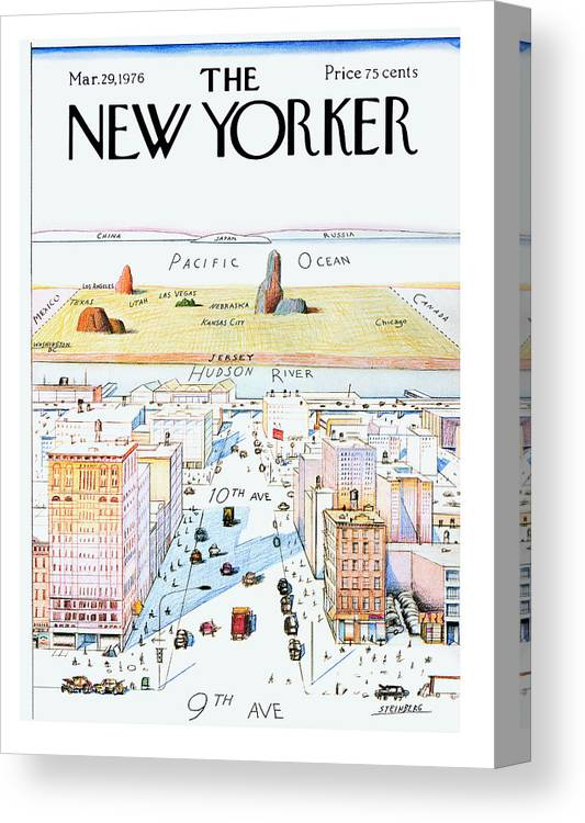 #condenastnewyorkercover Canvas Print featuring the painting New Yorker March 29, 1976 by Saul Steinberg