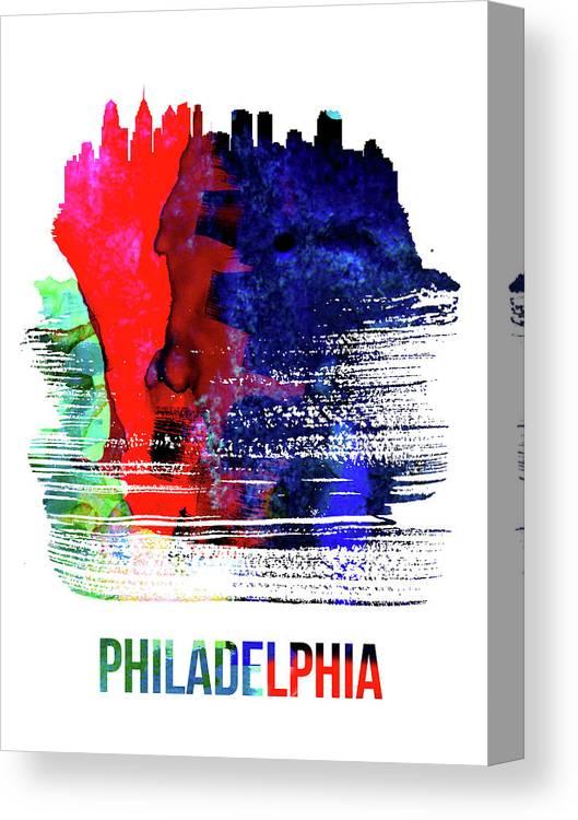Philadelphia Canvas Print featuring the mixed media Philadelphia Skyline Brush Stroke Watercolor  by Naxart Studio