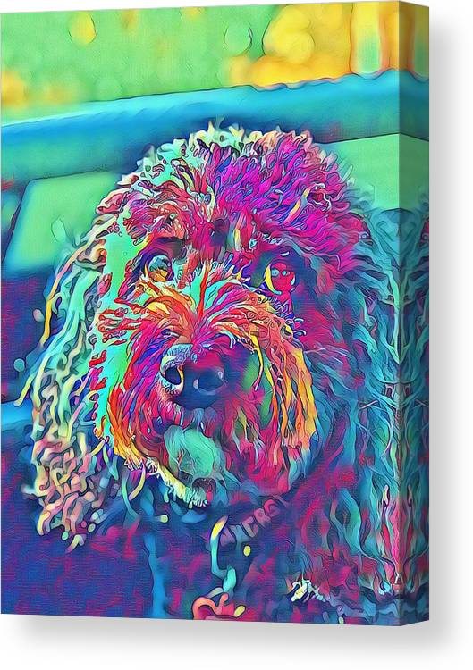 Canvas Print featuring the digital art Rainbow Pup by Cindy Greenstein