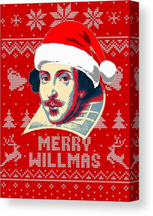 Santa Canvas Print featuring the digital art William Shakespeare Merry Willmas by Filip Hellman