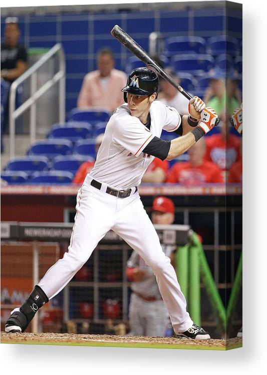 American League Baseball Canvas Print featuring the photograph Christian Yelich by Rob Foldy