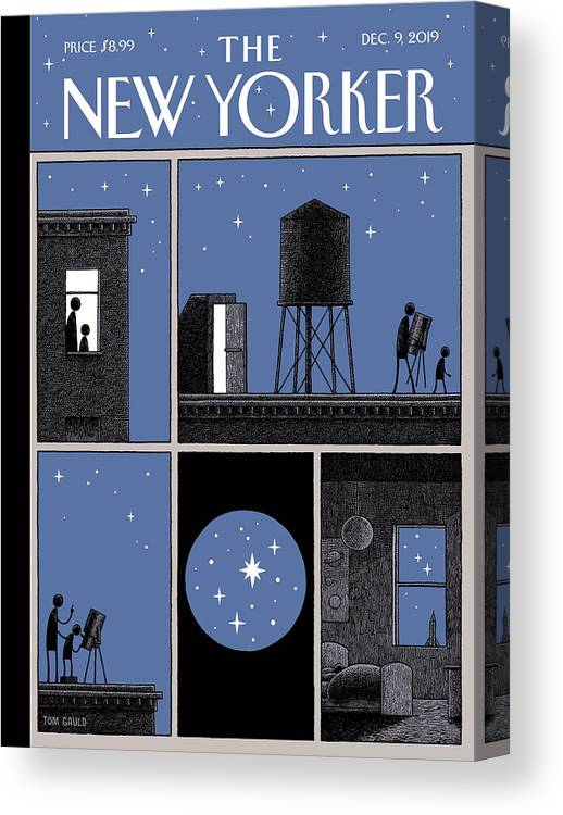Rooftop Astronomy Canvas Print featuring the drawing Rooftop Astronomy by Tom Gauld