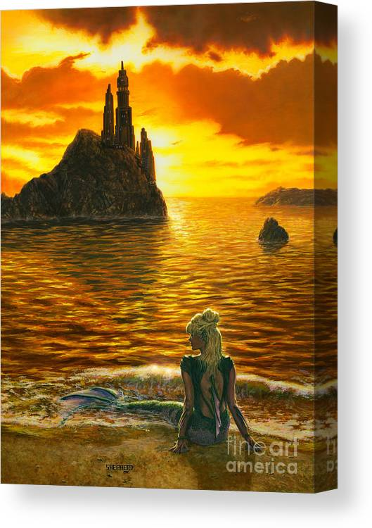 Mermaid Canvas Print featuring the painting The Golden Girl by Stu Shepherd